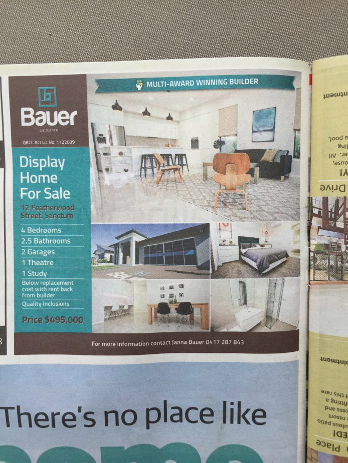 Bauer Constructions feature in today's Townsville Bulletin 'Home' guide!