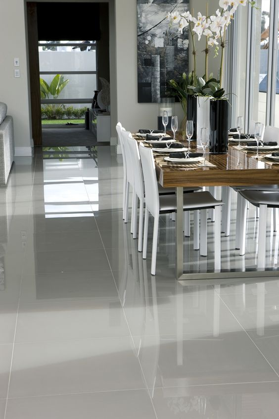 Polished floor tiles - Image via Beaumont Tiles